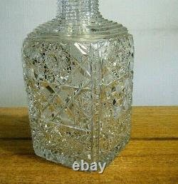 12 ABP Glass American Brilliant Period Hand Cut Crystal Whiskey Liquor Decanter