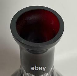 14 Ruby Red cut to clear Bohemian Czech Crystal Wine Decanter with Stopper
