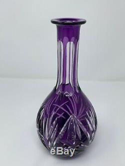 14 Tall Crystal Purple Cut To Clear Decanter With Stopper