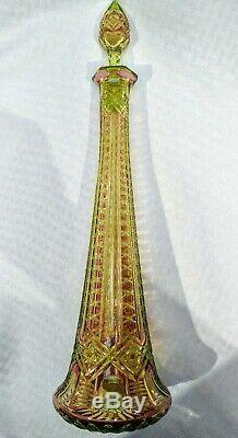 17 1/4 Val St Lambert Vaseline Cranberry ABP uranium Eiffel cut glass decanter