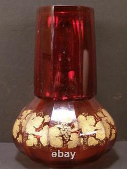 1800's Moser Cut Bedside Tumble Up Cranberry Glass Water Set Carafe Gold Leaf