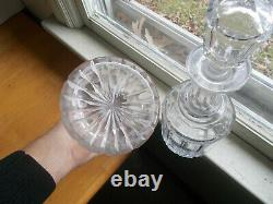 1860 Matching Pair Of Cut Glass Paneled Liquor Decanters & Cut Hollow Stoppers