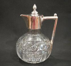 1880 Claret Jug Decanter Cut Glass Silver Pl Christopher Dresser Design Antique