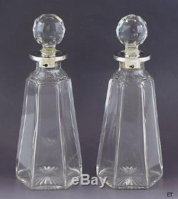 1898 Fab Pair Victorian English Sterling Silver & Cut Glass Locking Decanters