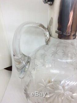 1906 Stewart Dawson & Co Ltd Solid Silver Cut Glass Claret Jug Decanter