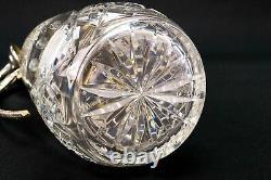 1970s Vintage Claret Jug Wine Carafe Cut Crystal Glass Silver Plated Decanter