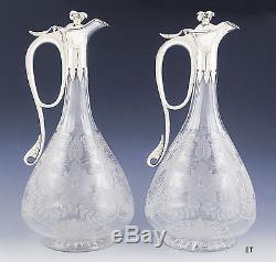 1974 Fab Pair English Cut Glass & Sterling Silver Liquor Bottles Decanters