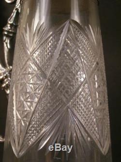 19 c Antique ABP Glass Diamond Cut Silver Decanter Wine Water Pitcher Claret Jug