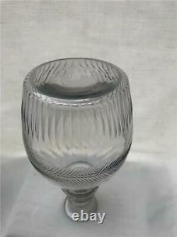19th C Blown Cut Glass Decanter Bottle 3 Neck Rings Flutes Original Stopper