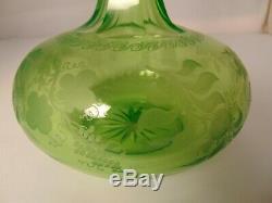 19th C Vaseline Cut Glass Decanter Wine Bottle Vase Bohemian Etched Flower