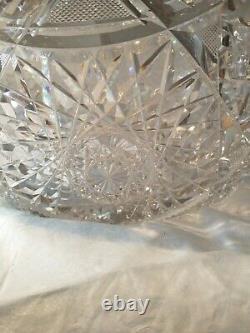 19th Century Hand Cut Crystal Punch Bowl