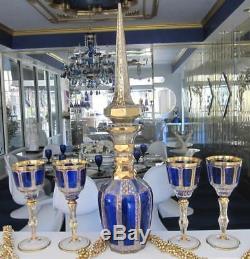 22 3/4 Blue Decanter Hand Painted Victorian Cut Glass Bohemian Czech Art Glass