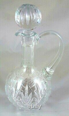 24% Hand Cut Lead Crystal Hogget Decanter With Mahogany Base 499