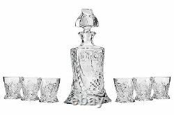 28 Oz. Crystal Cut Decanter & Six 11 Oz. Classic Whisky Scotch/Brandy Tumblers
