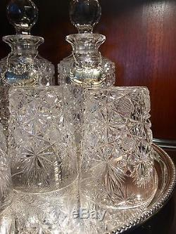 2 Antique Wheel Cut Crystal Decanters 4 Glasses Sterling Tags Tray Buy It Now