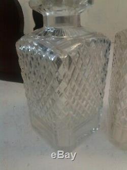 2 Cut Glass Bottle Tantalus, Decanter Set