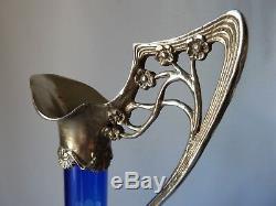 2 (Pair) Antique German WMF Cut Glass Silverplate Mounted Ewers, h35,5cm