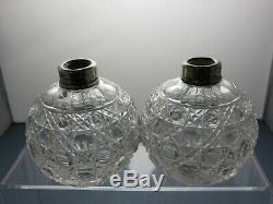 2 X Antique Lead Crystal Cut Glass Perfume Bottles/small Decanter Silver Collar