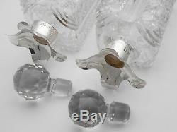 2x Sterling Silver Hobnail Cut Glass Decanters London 1897 Antique