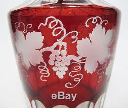 3 Antique Bohemian Cut/Clear Ruby Red Grape Motif Glass Liquor Decanters NR yqz