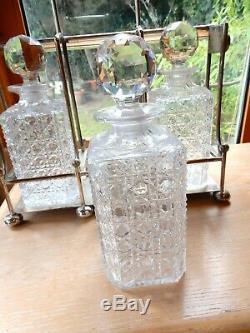 3 Decanter TANTALUS Vintage Silver Plate Hobnail Cut Glass Atkin Bros Hallmark