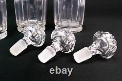 3 Three Antique Decanters Cut Glass 19C Victorian Port Sherry Wine Whisky Set