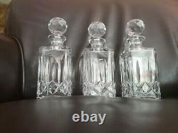 3 Vintage Atlantis Cut Lead Crystal Fluted Whiskey Decanters Jose Pattern