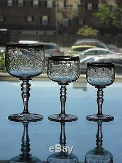 3pcs Sgd Blown Intaglio Cut Enameled MOSER GLASS Decanters c1890s 2 no stoppers