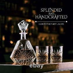 5 Piece Glass Bar Set And Rare Cut Whiskey Decanters Handcrafted Refined Liquor