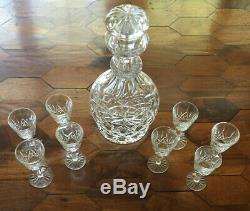 8 Waterford LISMORE Crystal Liqueur Cordial 3 1/2 Glasses & GLANDORE Decanter