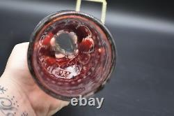 (9pc) Egermann Cut Crystal Cased Ruby Cut To Clear Whiskey Decanter Set (EGC4)