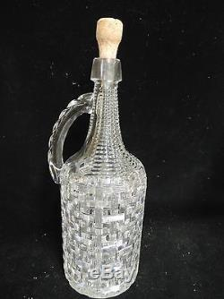 Abp American Brilliant Period Handled Basket Weave Decanter 13 Mint