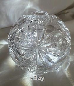 ABP AMERICAN BRILLIANT PERIOD cut glass squat wiskey jug cruet decanter pinwheel