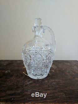ABP Antique J. Hoare Brilliant Cut Glass Whiskey Jug Decanter w Stopper Barware