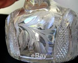 ABP CUT GLASS Intaglio WILD ROSE Pattern DECANTER JUG Signed TUTHILL