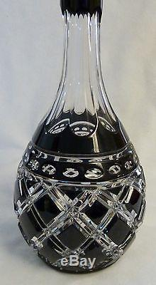 AJKA Black Onyx Cut to Clear Crystal Decanter & Stopper