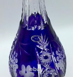 AJKA Crystal MARSALA Cobalt Cut to Clear Decanter 15 3/4 Tall