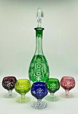 AJKA Marsala Cased Emerald Cut To Clear Crystal Decanter & 5 Cordials Multicolor