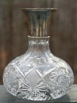 AMERICAN BRILLIANT CUT GLASS CARAFE With FRADLEY STERLING SPOUT SILVER PAIRPOINT
