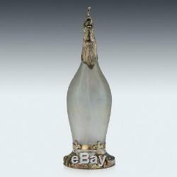 ANTIQUE 19thC GERMAN SOLID SILVER & GLASS ROOSTER NOVELTY DECANTER c. 1890