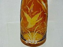 ANTIQUE BOHEMIAN MOSER CUT GLASS WINE DECANTER BOTTLE Water Bird Cattails AMBER