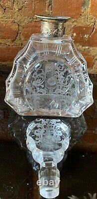 ANTIQUE CUT CRYSTAL ETCHED FACETED DECANTER STERLING SILVER GERMANY Art Deco