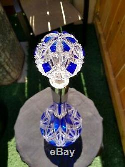 ANTIQUE FRENCH COBALT BLUE CUT TO CLEAR Crystal GLASS DECANTER. Beautiful