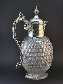 ANTIQUE ORNATE 19thC VICTORIAN SILVER PLATED & CUT GLASS CLARET JUG DECANTER