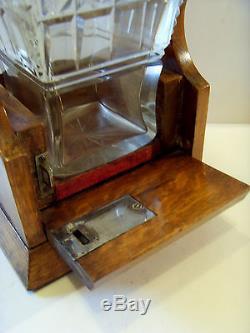 Antique Single Oak Locking Tantalus With Cut Glass Spirit Decanter