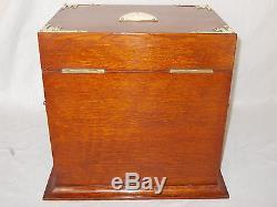 Antique Victorian Oak Games Compendium Box Cabinet Tantalus 3 Glass Decanters
