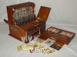 Antique Victorian Oak Games Compendium Tantalus 3 Cut Glass Hobnail Decanters