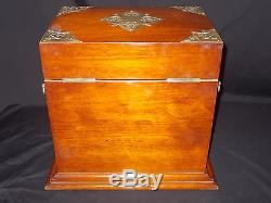 Antique Victorian Solid Mahogany Gaming Tantalus Cabinet Cut Glass Decanters