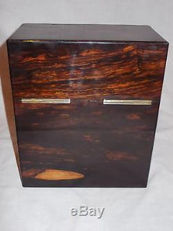ANTIQUE VICTORIAN c1870 COROMANDEL CALAMANDER 2 GLASS DECANTER TANTALUS CASE BOX