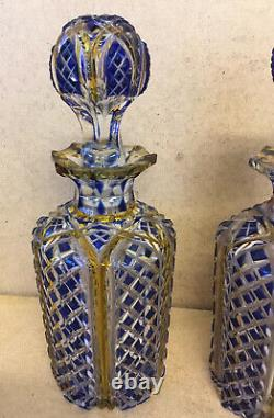 A Pair Of Nice Looking Antique 19th Small Blue Yellow Cut To Clear Decanters
